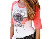 Cruel Girl Western Shirt Womens 3/4 Sleeve Guns XL White CTK9695007