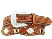 Nocona Western Belt Mens Leather Scallop Overlay 42 Copper N2508808