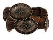 "Ariat Western Belt Womens Conchos Stone Leather 3/4"" M Brown A1516002"