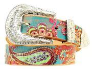 Nocona Western Belt Women Paisley Painted Rhinestone XL Punch N3418097