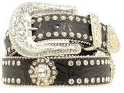 Blazin Roxx Western Belt Womens Tooled Floral Conchos L Black N3518001