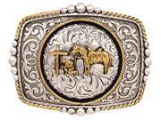 Silver Strike Western Belt Buckle Mens Horse Silver Gold BK256P