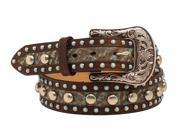 Ariat Western Belt Womens Nailheads Floral L Brown Turquoise A1520002