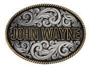 Montana Silversmiths Western Belt Buckle John Wayne Silver Black A533