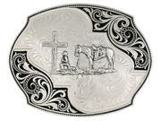 Montana Silversmiths Western Belt Buckle Cross Horse Silver 27310 731