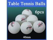6pcs 40mm Ping Pong Ball Sport Games Training Table Tennis White DHS 3Stars
