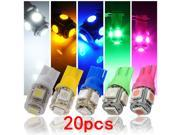 20pcs T10 W5W 194 158 168 501 5 SMD 5050 LED Car Amber Wedge Tail Bulb Light Lamp