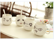 2pcsWhite Confused Laughter Tears Dizzy Ceramic Coffee Milk Cup 9SIA76H2GS8322