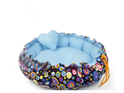 Flower Color Pet Dog Cat Pumpkin Nest Kennel Bed Small Blue