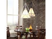 E27 Diamond Iron Birdcage Retro Restaurant Pyramid Pendant Lamp 31W 40W White