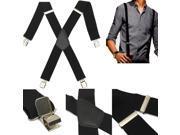 Mens Gentles Durable CliP On X Shape Adjustable Braces Elastic Suspenders Gift