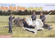 Dragon Models 6368 1/35 2cm Flak Crew w/Sd.Ah.51 2-Wheel Trlr (4) DMLS6368 Dragon Models USA