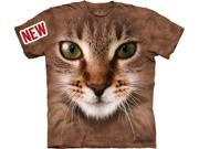 Striped Cat Face Adult T-Shirt by The Mountain - 10-3350