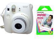 Fuji Instax Mini 8 White Instant Fujifilm Camera + 10 Prints