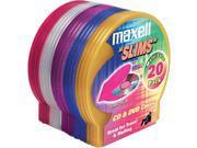 190073 Multi-Colored Slim CD/DVD Clamshells - 20 Pack
