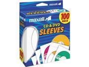 190133 White CD/DVD Sleeves - 100 Pack