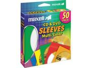 190134 Multi-Color CD/DVD Sleeves - 50 Pack
