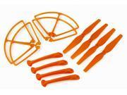 Syma X8C/X8W/X8G RC Quadcopter Spare Parts - Propeller, Landing Gear, & Prop Protective Frame Guard (Orange, Set of 12pcs)