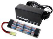 Combo: Tenergy 9.6V 1600mAh Flat NiMH Airsoft Battery Pack + 8.4V-9.6V NiMH Smart Charger