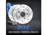 "Brake Rotors *FRONT KIT 2 ELINE ""DRILLED SLOTTED"" DISC & 4 CERAMIC PADS RE44003"