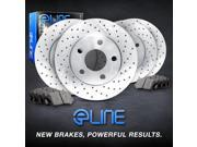 "Brake Rotors FRONT+REAR KIT ELINE """"CROSS DRILLED"""" & CERAMIC PADS RC49126"" 9SIA2GG2NN7077"