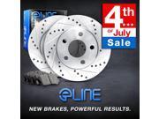 "Brake Rotors *FRONT KIT 2 ELINE ""DRILLED SLOTTED"" DISC & 4 CERAMIC PADS RE08079"