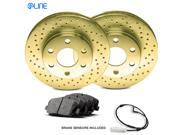 2011 2012 Jaguar XF Rear Gold Drilled Brake Disc Rotors & Ceramic Brake Pads 9SIA2GG4ZY6517