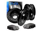 Front and Rear Black Drilled Slotted Brake Disc Rotors & Ceramic Brake Pad Neon,