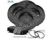 1997 1998 1999 2000 BMW 540i Full Kit Black Drilled Slotted Brake Rotors & Ceramic Pads