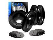 Front and Rear Black Slotted Brake Disc Rotors & Ceramic Brake Pads 300,Charger 9SIA2GG5024202
