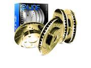 [FRONT+REAR] ELINE Gold Edition Drilled Slotted  Brake ROTORS DISC CGC.34084.01