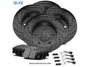 [COMPLETE KIT] Black Drilled Slotted Brake Rotors & Ceramic Pads CBC.3504502