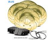 Front and Rear Gold Drilled Slotted Brake Rotors & Ceramic Brake Pads 735i,735iL