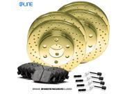 2001 2002 Mercedes-Benz E430 Full Kit Gold Drilled Brake Rotors & Ceramic Pads