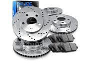 1996 1997 Lincoln Town Car Cartier 4.6L Front And Rear Cross Drilled Brake Rotors + Ceramic Pads