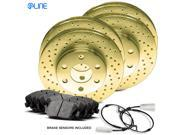 2011 2012 2013 2014 Porsche Cayenne Full Kit Gold Drilled Brake Disc Rotors & Ceramic Pads