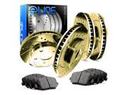 Front and Rear Gold Drilled Slotted Brake Rotors &  Ceramic Pads CGC.42106.02