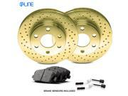 2006 2007 Mercedes-Benz C350 Rear Gold Drilled Brake Disc Rotors & Ceramic Pads 9SIV13S5Y27325