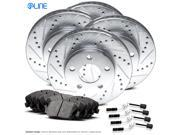 Front and Rear eLine Drilled Slotted Brake Rotors & Ceramic Brake Pads C230,C280