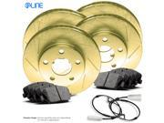 2011 2012 Jaguar XF Full Kit Gold Slotted Brake Disc Rotors & Ceramic Brake Pads 9SIV13S6UB5015