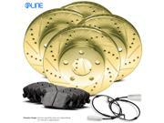 Front and Rear Gold Drilled Slotted Brake Disc Rotors & Ceramic Brake Pads X5,X6 9SIV13S5YA0006