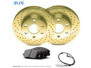2011 2012 Jaguar XF Front Gold Drilled Brake Disc Rotors & Ceramic Brake Pads 9SIV13S6UA8617