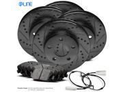 2011 2012 Jaguar XF Full Kit Black Drilled Slotted Brake Rotors & Ceramic Pads 9SIV13S5YK9268