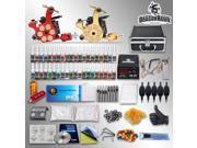 Complete Beginner Tattoo Kit 2 Top Machines Gun 40 color Ink Power supply 50 needles Grip Tip in Box 10-24GD