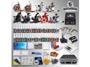 TOP Tattoo Kit Best Machines Gun color Inks Power supply needles Grip Tip D23GD