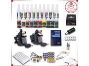 Tattoo Kit 2 Machines gun 20 color Inks Power supply needles Equipment HW-9VD 9SIA2HC3FS0550