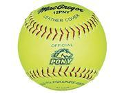 Softballs MacGregor Pony Approved Yellow Leather One Dozen