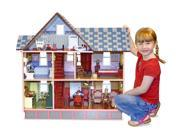Victorian Dollhouse with 3 Levels and Painted Details