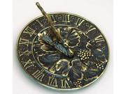 Brass Sundial with Grapevine Accents