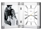 Ceremonial Clock w Picture Frame in Hinged Metal Case w Chrome Finish